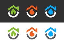 House Logo With Leaf, Fire And Water. Logos Design Templates Set, Clean And Modern Home Symbol Collection - Vector
