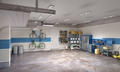 Large garage in whie and blue tones, 3d illustration