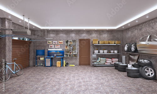 Obraz Garage interior with marble tiles and car components, 3d illustration - fototapety do salonu