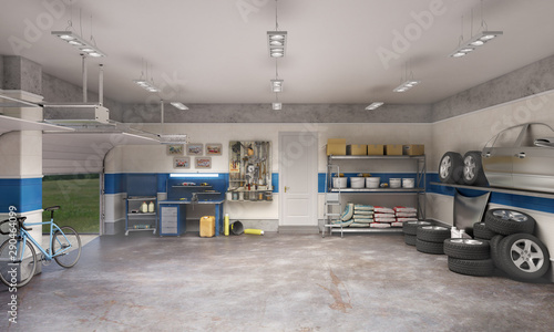 Fototapeta Large garage with workspace and car components, 3d illustration obraz