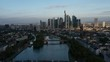 Frankfurt am Main in the autumn morning. Video shot with drone