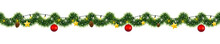 Christmas Garland Of Mistletoe Tinsel With Festive Light And Decorations Of Golden Stars And Pine Cones