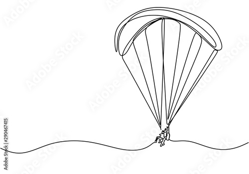 Continuous line drawing of sky parachute sport game Canvas Print
