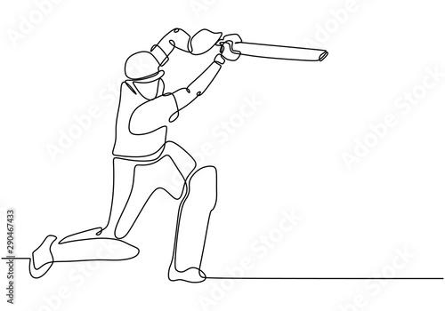 Obraz na płótnie one line drawing of Cricket sport player continuous single line art vector illustration minimalism design