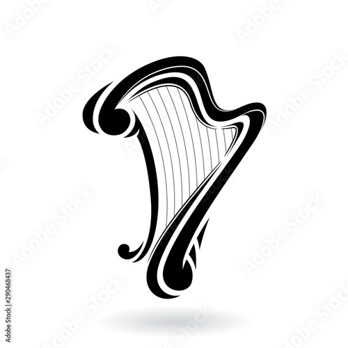 Fotografie, Tablou Cartoon Harp Icon