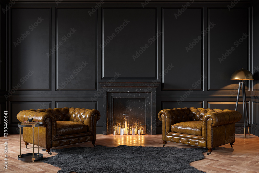 Fototapety, obrazy: Black classic interior with fireplace, leather armchairs, carpet, candles. 3d render illustration mockup.