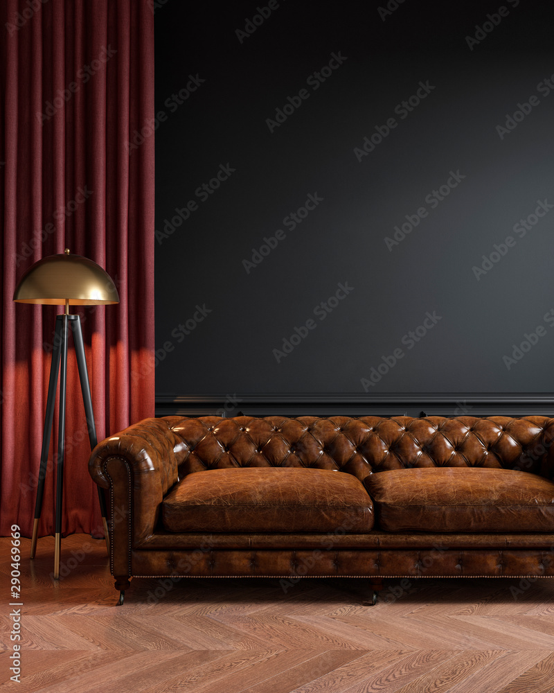 Fototapety, obrazy: Black classic loft interior with leather sofa, floor lamp, curtain and wood floor. 3d max interior mockup.