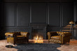Leinwanddruck Bild - Black classic interior with fireplace, leather armchairs, carpet, candles. 3d render illustration mockup.