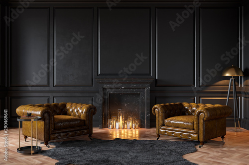 Obraz na plátně  Black classic interior with fireplace, leather armchairs, carpet, candles