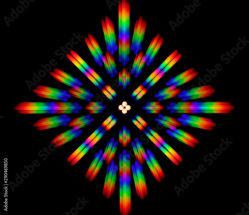 Fotografie, Obraz Photo of the diffraction pattern of LED array light, comprising a large number o