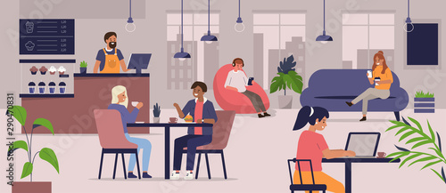 Young People Characters Dinning and Working in modern Coffehouse. Woman and Man Talking and Drinking Coffee. Coworking Loft Office with Cafe. Flat Cartoon Vector Illustration.