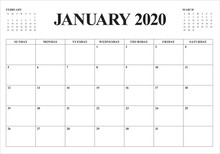 January 2020 Desk Calendar Vec...
