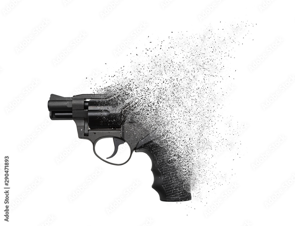 Fototapeta A gun crumbling into particles in space isolate on a white background. No more weapons, concept. Gun pistol revolver isolated on white background