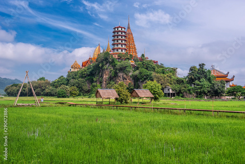 The scenery go green season at Wat Tham Sua, Kanchanaburi Canvas Print