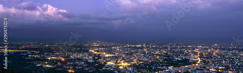 Foto auf Gartenposter Nordlicht Panorama of cityscape purple sky on twilight from Chiang mai, Thailand.