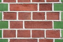 Orange And Green Brick Wall