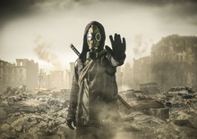 Man In Gas Mask Says Stop The Destruction In The World. , Post Apocalypse
