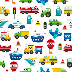 Childish seamless pattern. Cute kawaii transportation characters: cars, ship, plane, helicopter, train, balloon. For nursery. Illustration for kids.