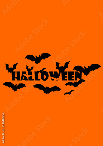 Keuken foto achterwand Halloween Halloween vector text with bats