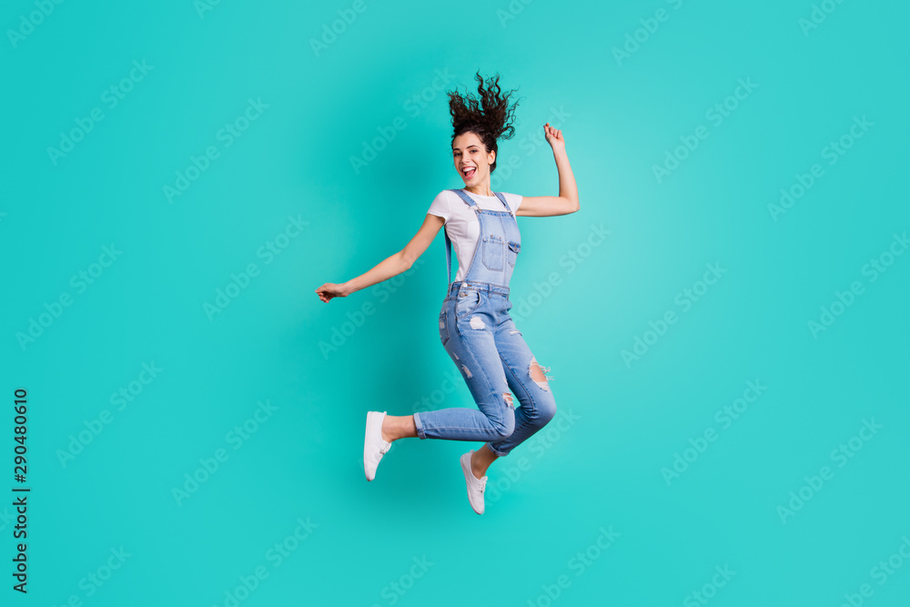 Fototapety, obrazy: Full length body size view of her she nice attractive cheerful cheery glad carefree girl wearing overall jumping having fun free time isolated on bright vivid shine vibrant green turquoise background