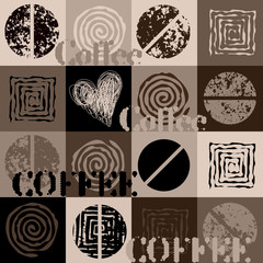 Panel Szklany Kawa Coffee. Abstract coffee beans on brown background