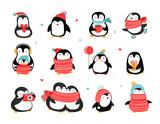 Fototapeta Fototapety na ścianę do pokoju dziecięcego - Cute hand drawn penguins collection, Merry Christmas greetings. Vector illustration