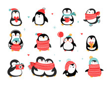 Cute Hand Drawn Penguins Colle...