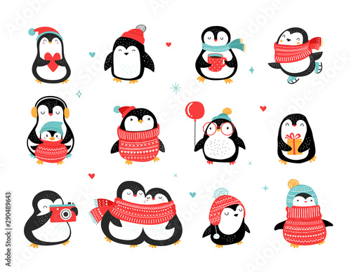 Fotografiet Cute hand drawn penguins collection, Merry Christmas greetings
