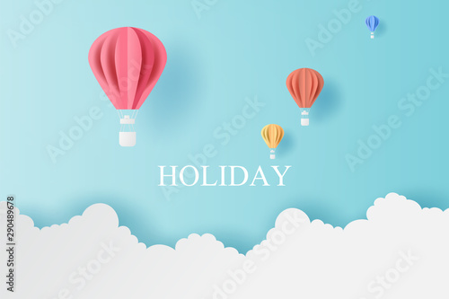 Foto auf AluDibond Pool Landscape of balloons colorful fly with Cloud on blue sky.Holiday and festival season concept.Creative design paper cut and craft style scene for your text.Minimal pastel color.vector illustration.