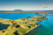 Myvatn Lake Landscape At North...