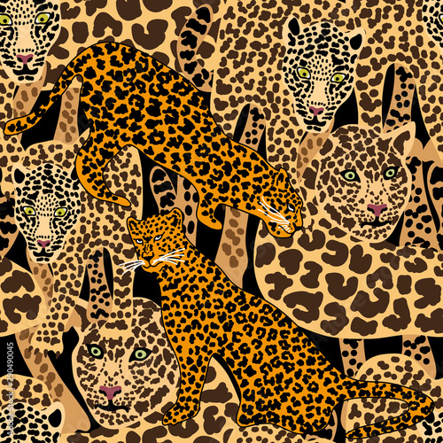 Seamless vector animal print with jaguar spots. Wallpaper Mural