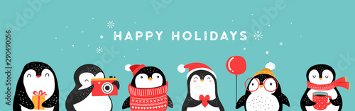 Cute hand drawn penguins collection, Merry Christmas greetings Fototapet
