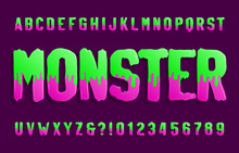 Monster Alphabet Font. Hand Drawn Slime Letters And Numbers. Vector Typography For Your Design.