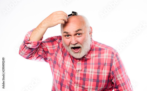 Mr. Expertise. unshaven old man has moustache and beard. cut and brush hair. mature bearded man isolated on white. barbershop concept. shaving accessories. shaving razor blade tool kit