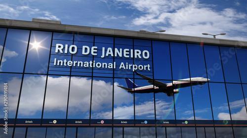 Airplane landing at Rio de Janeiro mirrored in terminal Canvas Print