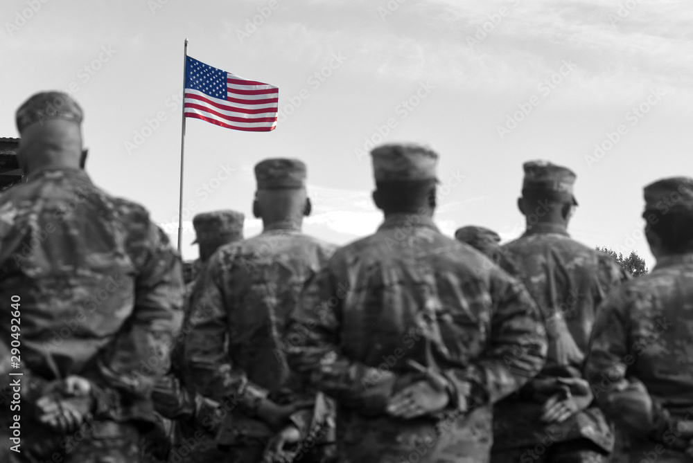 Fototapety, obrazy: American Soldiers and Flag of USA. US Army. Veteran Day