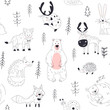 Forest animal seamless pattern Woodland childish print in Scandinavian decorative style. Seamless childish pattern with cute bear, fox, hedgehogs in the wood.