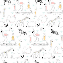 Seamless Childish Pattern With African Animals. Creative Scandinavian Kids Texture For Fabric, Wrapping, Textile, Wallpaper, Apparel. Vector Illustration.