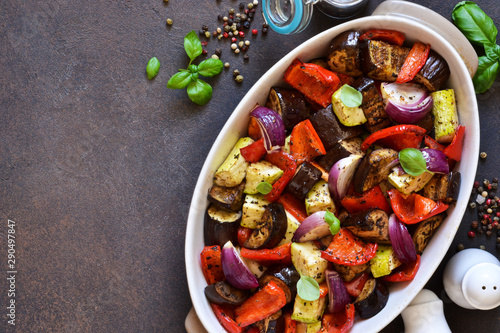 Poster Pays d Asie Oven Roasted Vegetables: zucchini, eggplant, tomatoes, paprika. Ratatouille is a rustic dish of vegetables.