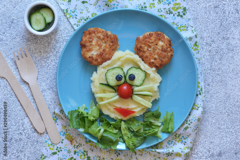Fototapety, obrazy: Funny little mouse for kids lunch. Food for children: mashed potatoes, burger, salad.