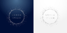 Silver Sparkling Ring With Dust Glitter Graphic On Dark Blue And White Background. Glorious Decorative Glowing Shiny Design. Discount Sign With Empty Center. Letter O Vector Logotype Or Zero Label