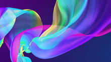 Fabric Flowing Cloth Wave, Waving Silk Flying Textile, 3d Render