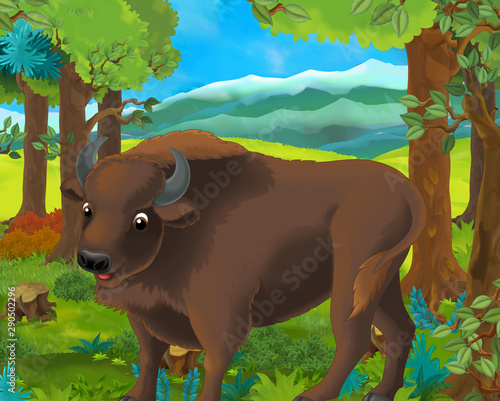 Cartoon scene with happy wild aurochs standing in the forest - illustration for Wallpaper Mural