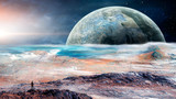 Space scene. Man standing on rock with planet and star. Elements furnished by NASA. 3D rendering