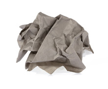 Crumpled Up Piece Grey Of Paper Isolated On White Background