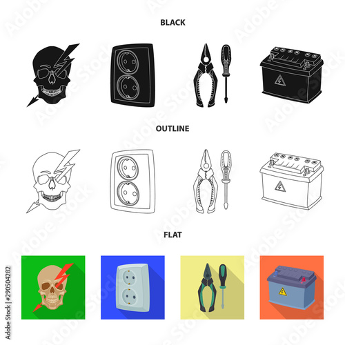 Fototapeta Vector design of electricity and electric symbol