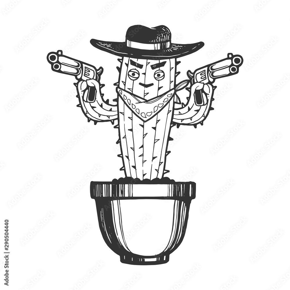 Fototapeta Cartoon mexican cactus character gangster bandit with pistol revolver guns engraving sketch vector illustration. Tee shirt apparel print design. Scratch board imitation. Black and white image.