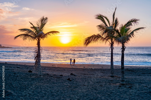 Printed kitchen splashbacks Canary Islands Scenic sunset in Puerto de la Cruz, Canary islands, Tenerife, Spain