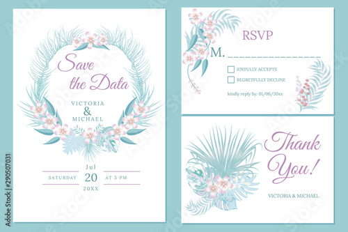 Fototapeta Wedding Invitation Card Design Floral Invite Soft Pastel Colors