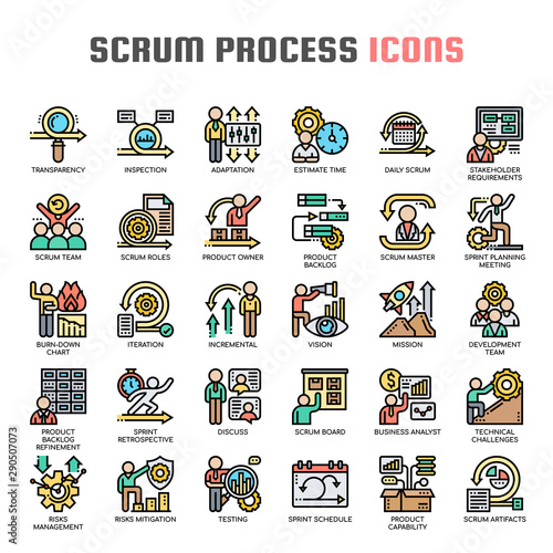 Photo Scrum Process , Thin Line and Pixel Perfect Icons